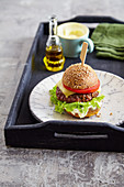 Beef burger with low carb bun