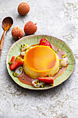 Asian coconut cream and caramel with lychees