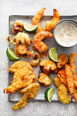 Fritto misto with a garlic and lime dip