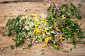 Chopped wild herbs and flowers