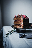 Paleo hazelnut cake with cranberry sauce and a chocolate glaze