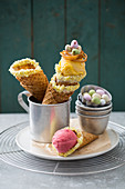 Ice cream cones with Easter decorations
