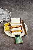 Freshly baked lemon cake dessert with mascarpone cream