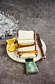 Freshly baked lemon cake dessert with mascarpone cream