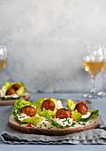 Vegan 'meatballs' served on lettuce leaves