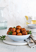 Vegan 'meatballs' in a porcelain bowl
