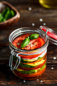Caprese in a flip-top jar