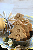 Gluten-free shortbread biscuits shaped like Christmas trees