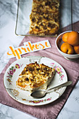 A slice of apricot crumble cake