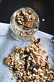 Vegan granola with dried plums, gingerbread, almonds and cinnamon