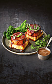 Roasted tofu and miso sweet potato with vegan gravy
