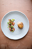 Grilled Scallop with Marinated salmon and Coriander Salad