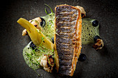 Seabass with Aubergine Puree Braised Fennel and Coconut Turmeric Sauce