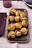 Courgette skewers with mortadella and mozzarella