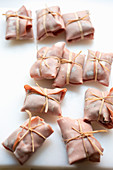 Involtini al radicchio (mortadella parcels filled with balsamic and honey radicchio, Italy)