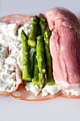 Raw veal topped with mortadella, stacchino and asparagus