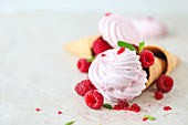 Raspberries Marshmallows (Zefir) with Mint in Waffle Cones