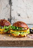 Vegan tofu burgers with avocado