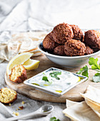 Falafel with yoghurt and coriander