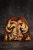Partly sliced marble cake