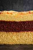 A stack of various sponge cakes