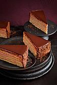 Chocolate cake with red wine cream