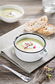 Herb and radish soup with cress