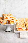 Apricot and quark crumble cakes