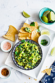 Mexican guacamole with a twist of kale, served with corn chips (totopos)