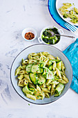 Pasta with kale pesto and zucchini