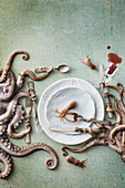 Octopus and squid still life
