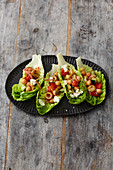 Chickpea salad in lettuce leaves