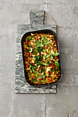 Couscous bake with vegetables and feta cheese