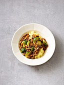 Brussels sprout bolognese with mashed potatoes