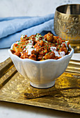 A bowl of cauliflower and chickpea tikka masala (India)