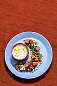 Greek fried rice with lamb and a yoghurt sauce