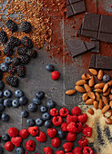 Fresh berries, sugar, almonds and chocolate