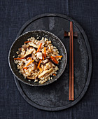Japanese rice with vegetables and shiitake