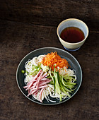 Cold somen noodles with ham and vegetables (Japan)