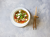 Oriental soup with tofu and pepper