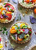 Mini tarts with Heirloom tomato and ricotta