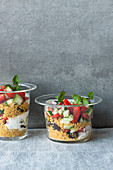 Couscous salad with dates and mint yoghurt