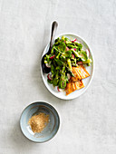 Asparagus salad with spicy oven-roasted salmon