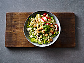 Caesar tofu salad with broad beans and mint