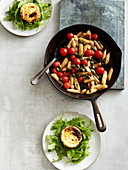 Baked ricotta with fried asparagus and cherry tomatoes