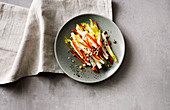 Pepper and chicory salad with hazelnuts