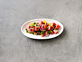 Tomato and watermelon salad with capers and mint