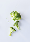 Broccoli on a white surface