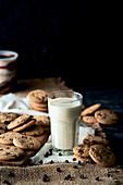 Chocolae chip cookies and milk