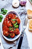 Spanish meatballs with flatbread